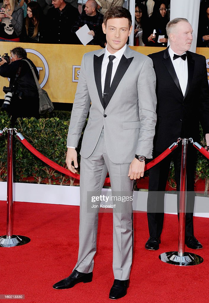 Actor Cory Monteith arrives at the 19th Annual Screen Actors Guild Awards at The Shrine Auditorium on January 27, 2013 in Los Angeles, California.