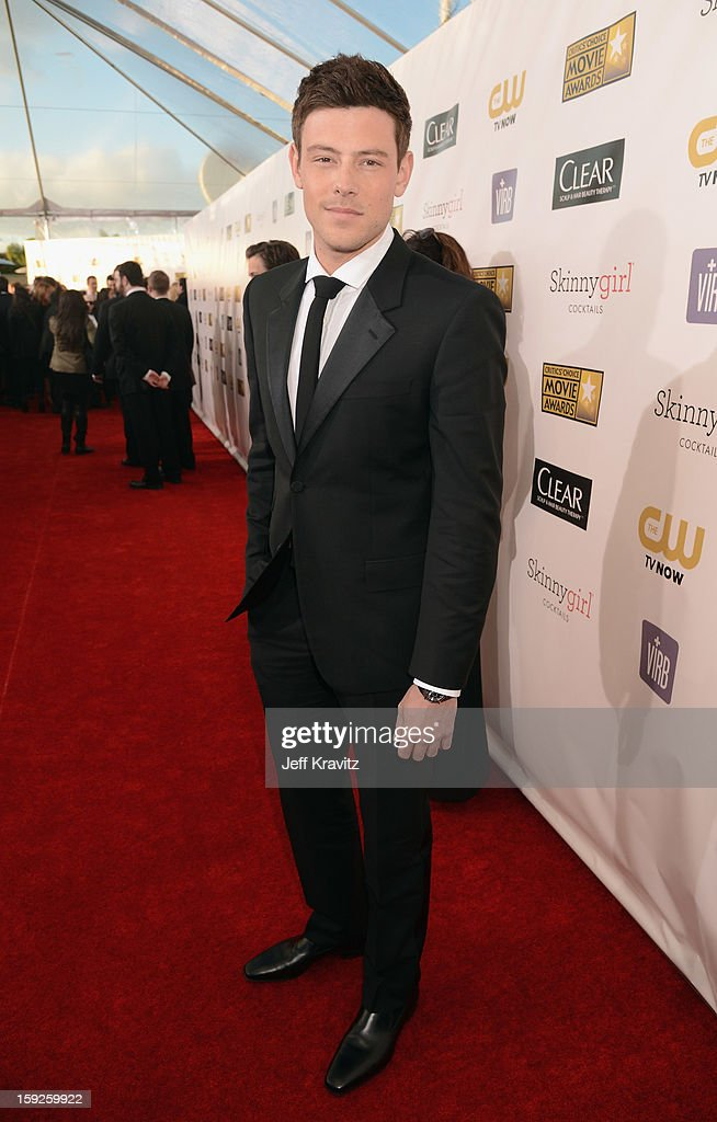 Actor Cory Monteith attends the 18th Annual Critics' Choice Movie Awards at Barker Hangar on January 10, 2013 in Santa Monica, California.
