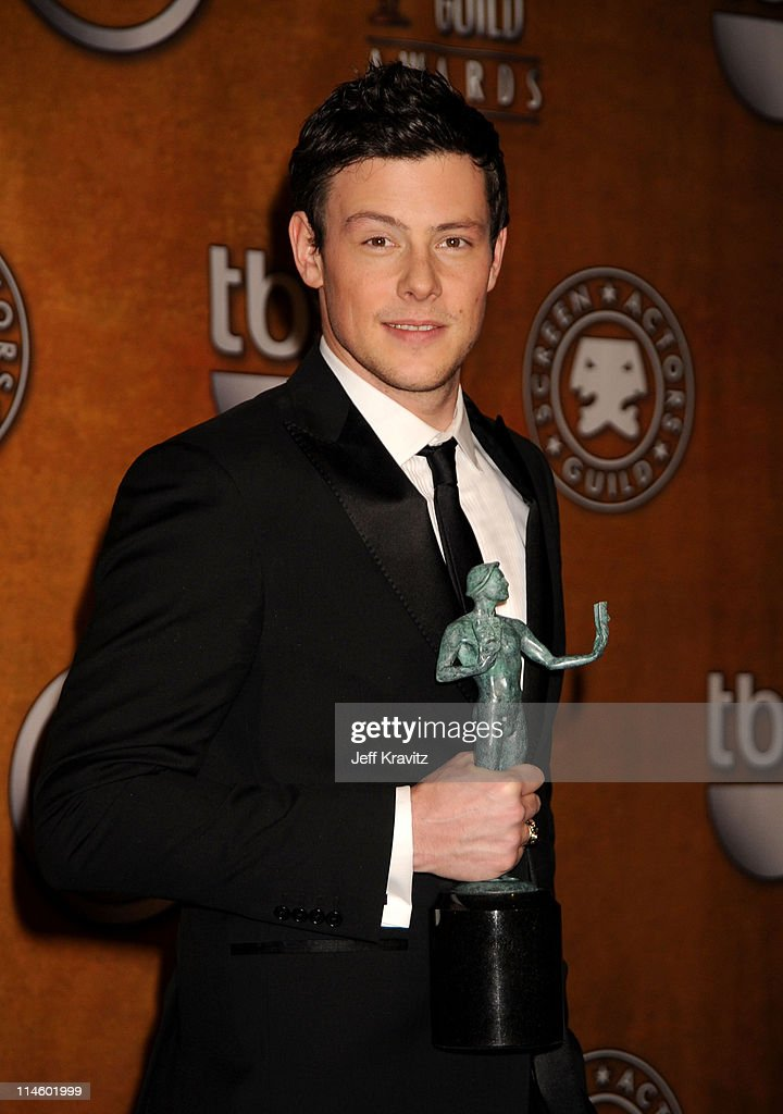 Actor <a gi-track='captionPersonalityLinkClicked' href=/galleries/search?phrase=Cory+Monteith&family=editorial&specificpeople=4491048 ng-click='$event.stopPropagation()'>Cory Monteith</a> poses in the press room at the 16th Annual Screen Actors Guild Awards held at The Shrine Auditorium on January 23, 2010 in Los Angeles, California.