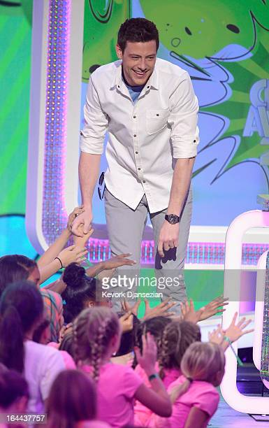 Actor Cory Monteith walks onstage during Nickelodeon's 26th Annual Kids' Choice Awards at USC Galen Center on March 23 2013 in Los Angeles California