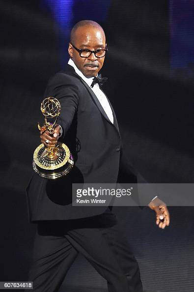 Actor Courtney B Vance accepts Outstanding Lead Actor in a Limited Series or Movie for 'The People v OJ Simpson American Crime Story' onstage during...