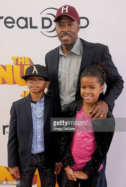 Actor Courtney B Vance son Slater Vance and daughter Bronwyn Vance arrive at the Los Angeles premiere of 'The Nut Job' at Regal Cinemas LA Live on...