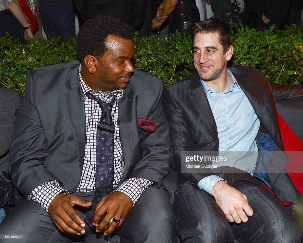 Actor Craig Robinson (L) and NFL Quarterback Aaron Rodgers attend the Entertainment Weekly Pre-SAG Party hosted by Essie and Audi held at Chateau Marmont on January 26, 2013 in Los Angeles, California.