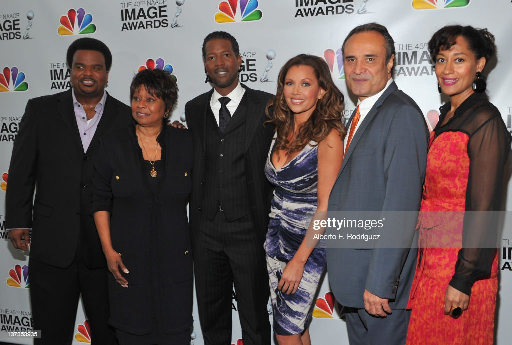 Actor Craig Robinson, NAACP Image Awards Chairman <a gi-track='captionPersonalityLinkClicked' href=/galleries/search?phrase=Clayola+Brown&family=editorial&specificpeople=876994 ng-click='$event.stopPropagation()'>Clayola Brown</a>, actor Corey Reynolds, actress Vanessa Williams, NAACP Hollywood Bureau director <a gi-track='captionPersonalityLinkClicked' href=/galleries/search?phrase=Vicangelo+Bulluck&family=editorial&specificpeople=2528998 ng-click='$event.stopPropagation()'>Vicangelo Bulluck</a> and actress <a gi-track='captionPersonalityLinkClicked' href=/galleries/search?phrase=Tracee+Ellis+Ross&family=editorial&specificpeople=211601 ng-click='$event.stopPropagation()'>Tracee Ellis Ross</a> attend the 43rd NAACP Image Awards Nomination announcement and press conference at The Paley Center for Media on January 19, 2012 in Beverly Hills, California.
