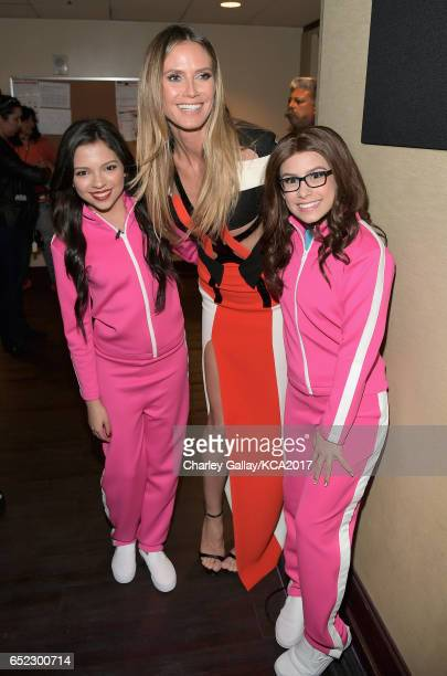 Actor Cree Cicchino model Heidi Klum and actor Madisyn Shipman in the green room at Nickelodeon's 2017 Kids' Choice Awards at USC Galen Center on...
