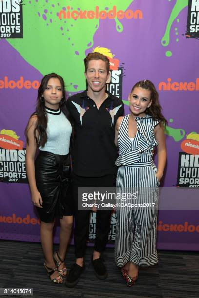 Actor Cree Cicchino professional snowboarder Shaun White and actor Madisyn Shipman attend Nickelodeon Kids' Choice Sports Awards 2017 at Pauley...