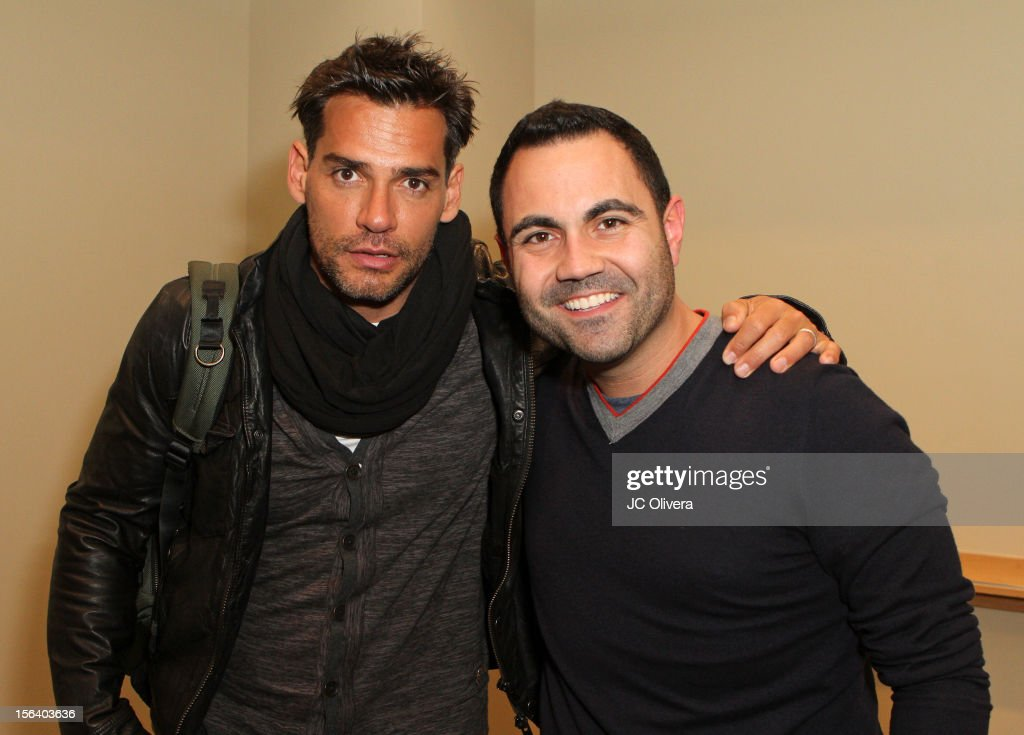 Actor Cristian de la Fuente (L) and radio personality <a gi-track='captionPersonalityLinkClicked' href=/galleries/search?phrase=Enrique+Santos+-+Personalidad+televisiva&family=editorial&specificpeople=15214264 ng-click='$event.stopPropagation()'>Enrique Santos</a> attend the 13th annual Latin GRAMMY Awards Univision Radio Remotes held at the Mandalay Bay Events Center on November 14, 2012 in Las Vegas, Nevada.