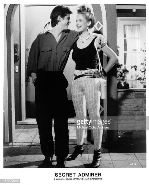 Actor CThomas Howell and actress Kelly Preston on set of the Orion Picture movie 'Secret Admirer' in 1985