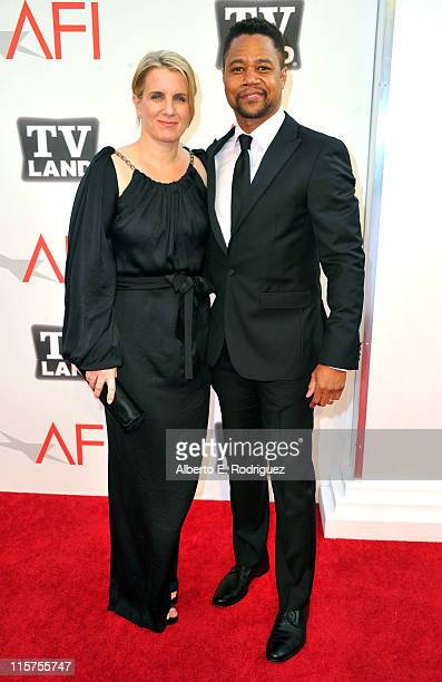Actor Cuba Gooding Jr and Sara Kapfer arrive at the 39th AFI Life Achievement Award Honoring Morgan Freeman held at Sony Pictures Studios on June 9...