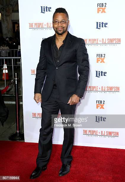 Actor Cuba Gooding Jr attends the premiere of FX's 'American Crime Story The People V OJ Simpson' at Westwood Village Theatre on January 27 2016 in...