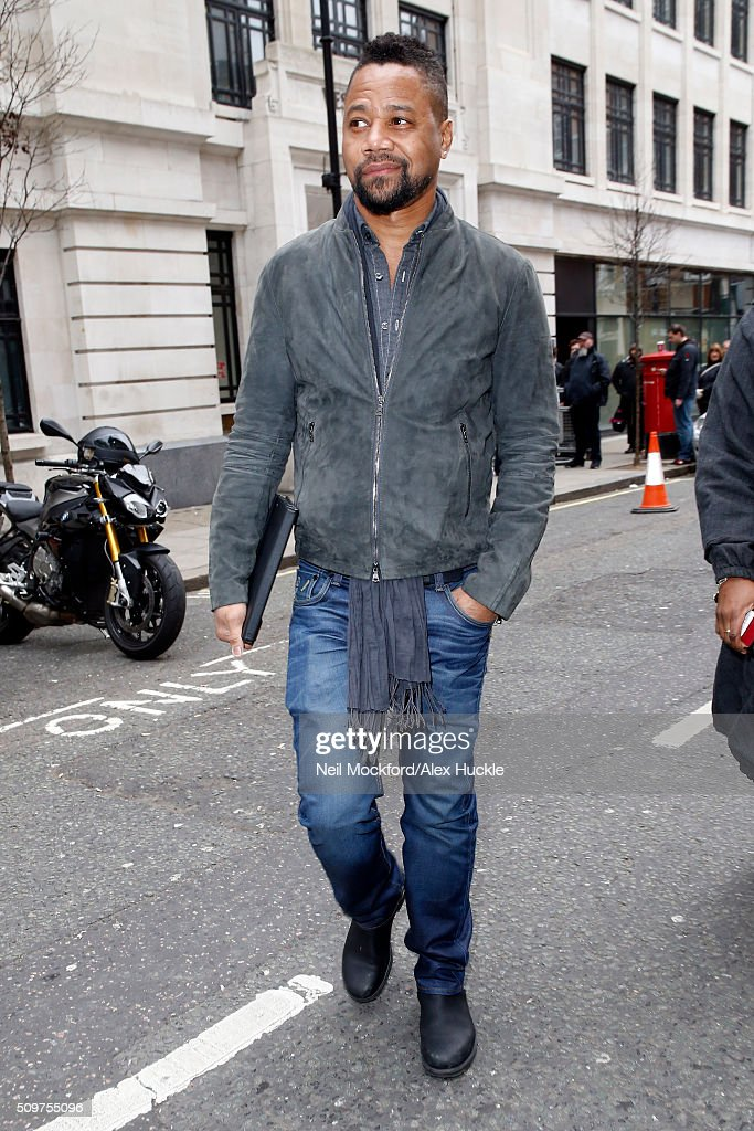 Actor Cuba Gooding, Jr. seen leaving the BBC Radio 2 Studios on February 12, 2016 in London, England.