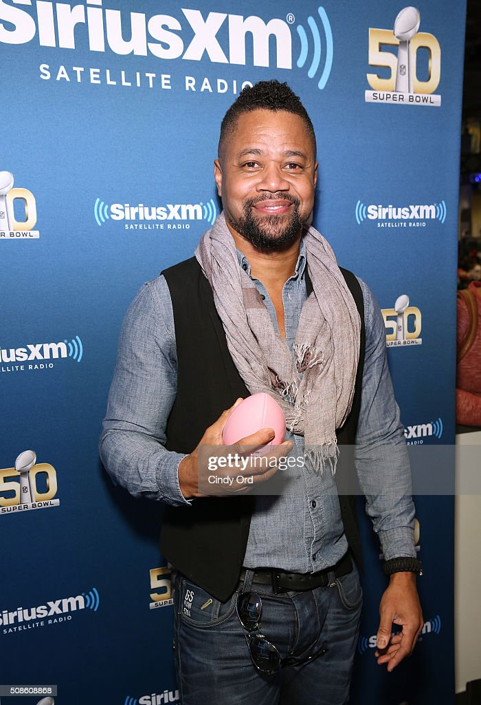 Actor Cuba Gooding Jr visits the SiriusXM set at Super Bowl 50 Radio Row at the Moscone Center on February 5, 2016 in San Francisco, California.