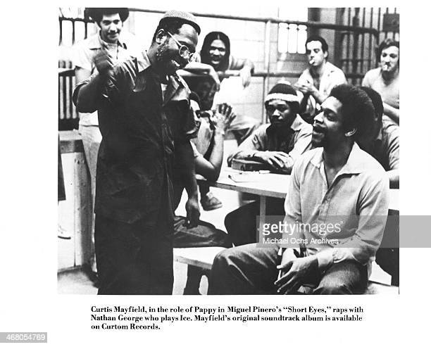 Actor Curtis Mayfield and Nathan George on set of the movie 'Short Eyes' circa 1977