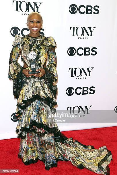 Actor Cynthia Erivo attend 2016 Tony Awards Media Room at The Jewish Community Center in Manhattan on June 12 2016 in New York City