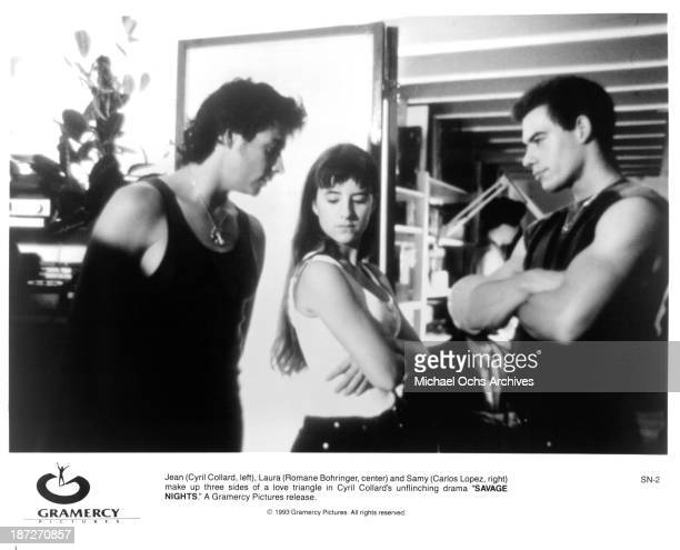 Actor Cyril Collard and actress Romane Bohringer and actor Carlos L=pez on set of the movie 'Savage Nights' in 1992