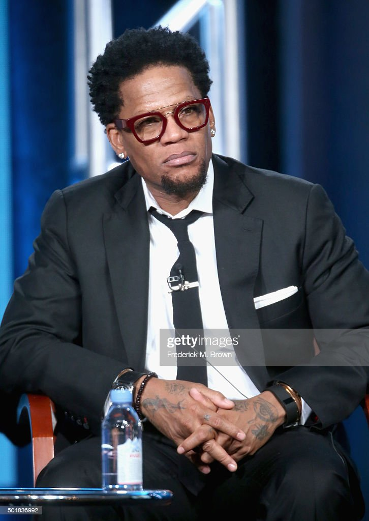 Actor D L Hughley speaks onstage during the 'Heartbeat' panel discussion at the NBCUniversal portion of the 2015 Winter TCA Tour at Langham Hotel on...