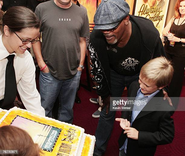 Actor Dakota Goyo celebrates his 8th birthday with actor Samuel L Jackson at the afterparty for the premiere of Yari Film's 'Resurrecting the Champ'...