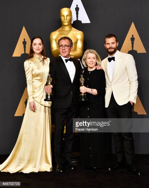 Actor Dakota Johnson production designer David Wasco and art director Sandy ReynoldsWasco winners of Best Production Design for 'La La Land' and...