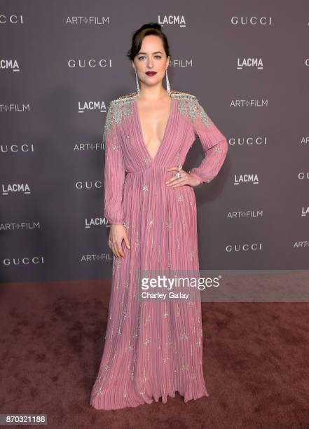 Actor Dakota Johnson wearing Gucci attend the 2017 LACMA Art Film Gala Honoring Mark Bradford And George Lucas at LACMA on November 4 2017 in Los...