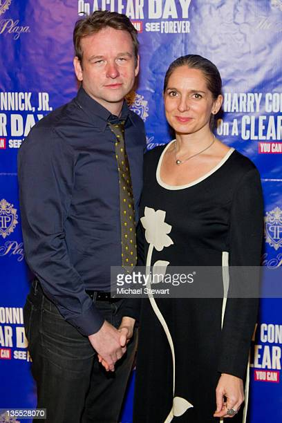 Actor Dallas Roberts and Christine Johnson attend 'On a Clear Day You Can See Forever' Broadway opening night after party at The Plaza Hotel on...