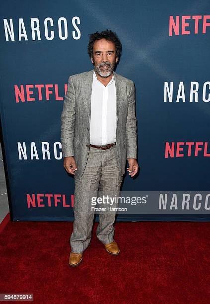 Actor Damian Alcazar attends the Season 2 premiere of Netflix's 'Narcos' at ArcLight Cinemas on August 24 2016 in Hollywood California