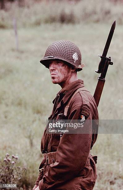Actor Damian Lewis acts in a scene from HBO''s war miniseries 'Band Of Brothers'