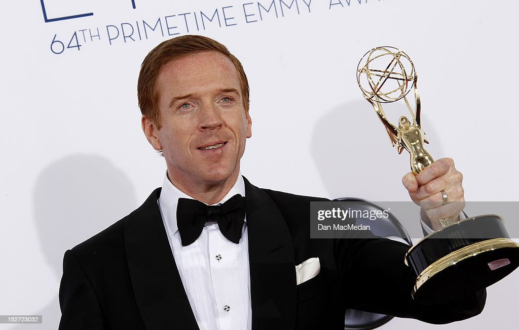 Actor <a gi-track='captionPersonalityLinkClicked' href=/galleries/search?phrase=Damian+Lewis&family=editorial&specificpeople=206939 ng-click='$event.stopPropagation()'>Damian Lewis</a> poses in the press room at the 64th Primetime Emmy Awards held at Nokia Theatre L.A. Live on September 23, 2012 in Los Angeles, California.