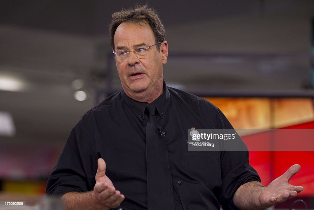 Actor Dan Ackroyd, co-founder of Crystal Head Vodka, speaks during a Bloomberg Television interview in New York, U.S., on Wednesday, July 31, 2013. Founded with artist John Alexander, Crystal Head takes its name from the eerie skull-shaped bottle it comes in. Photographer: Jin Lee/Bloomberg via Getty Images