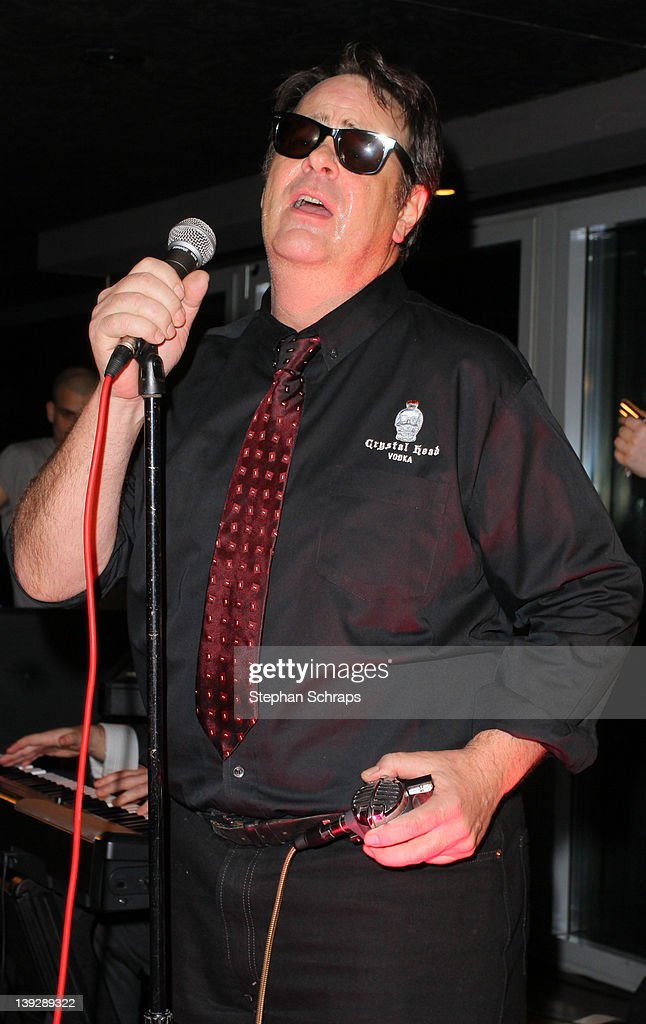 Actor <a gi-track='captionPersonalityLinkClicked' href=/galleries/search?phrase=Dan+Aykroyd&family=editorial&specificpeople=206819 ng-click='$event.stopPropagation()'>Dan Aykroyd</a> performing, singing the Blues, in the 'Puro Sky Lounge', Europacenter, during the party for the launch of his 'Crystal Head Vodka' on February 18, 2012 in Berlin, Germany.