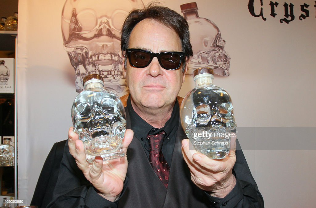 Actor <a gi-track='captionPersonalityLinkClicked' href=/galleries/search?phrase=Dan+Aykroyd&family=editorial&specificpeople=206819 ng-click='$event.stopPropagation()'>Dan Aykroyd</a> presents his 'Crystal Head' Vodka in the KaDeWe on Tauentzienstrasse on February 18, 2012 in Berlin, Germany.