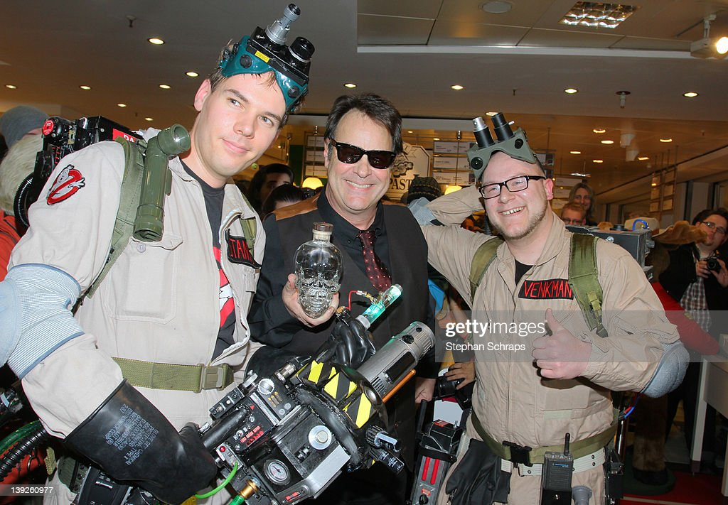 Actor <a gi-track='captionPersonalityLinkClicked' href=/galleries/search?phrase=Dan+Aykroyd&family=editorial&specificpeople=206819 ng-click='$event.stopPropagation()'>Dan Aykroyd</a> presents his 'Grystal Head' Vodka escorted by 'Ghost-Busters' fans in the KaDeWe on Tauentzienstrasse on February 18, 2012 in Berlin, Germany.