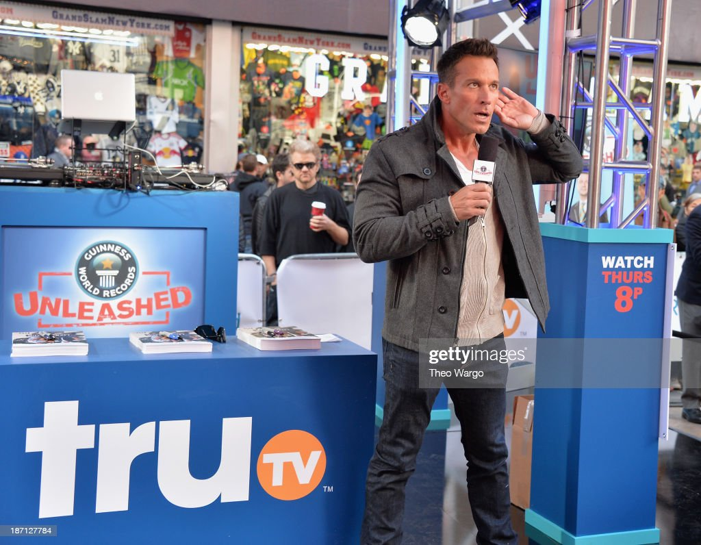 Actor <a gi-track='captionPersonalityLinkClicked' href=/galleries/search?phrase=Dan+Cortese&family=editorial&specificpeople=754844 ng-click='$event.stopPropagation()'>Dan Cortese</a> speaks at the Guinness World Records Unleashed Arena in Times Square on November 6, 2013 in New York City. (Photo by Theo Wargo/WireImage) 24244_003_TW_0003.JPG