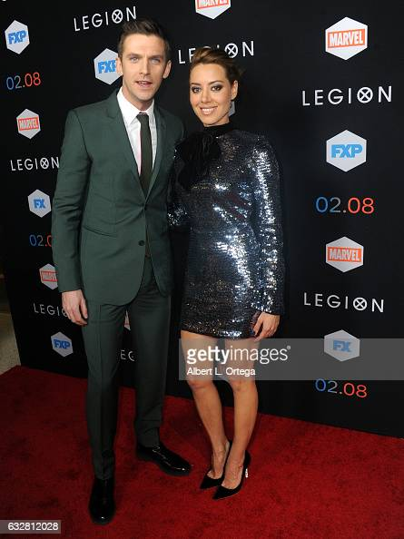 Actor Dan Stevens and actress Aubrey Plaza arrive for the Premiere Of FX's 'Legion' held at Pacific Design Center on January 26 2017 in West...
