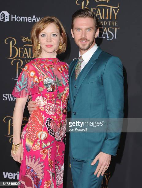 Actor Dan Stevens and wife Susie Stevens arrive at the Los Angeles Premiere 'Beauty And The Beast' at El Capitan Theatre on March 2 2017 in Los...