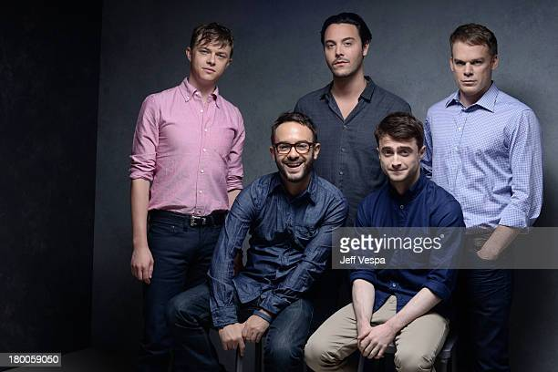 Actor Dane DeHaan actor Jack Huston director John Krokidas actor Daniel Radcliffe and actor Michael C Hall of 'Kill Your Darlings' pose at the Guess...