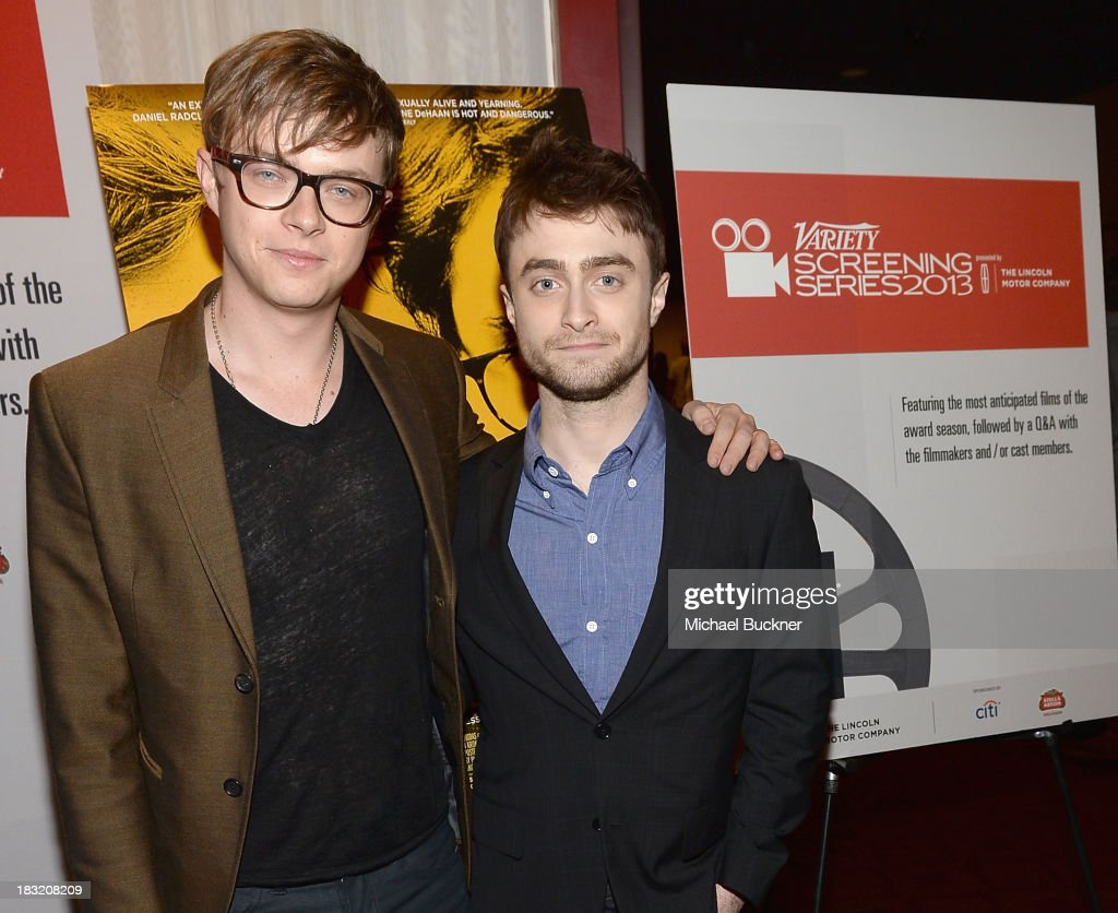 Actor <a gi-track='captionPersonalityLinkClicked' href=/galleries/search?phrase=Dane+DeHaan&family=editorial&specificpeople=6890481 ng-click='$event.stopPropagation()'>Dane DeHaan</a> (L) and actor <a gi-track='captionPersonalityLinkClicked' href=/galleries/search?phrase=Daniel+Radcliffe&family=editorial&specificpeople=204144 ng-click='$event.stopPropagation()'>Daniel Radcliffe</a> speak at the Q&A for the Variety Screening Series Presents Sony Pictures Classics' 'Kill Your Darlings' at ArcLight Hollywood on October 5, 2013 in Hollywood, California.
