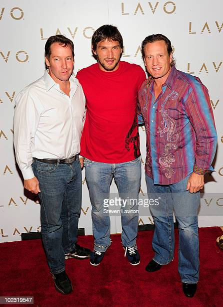 Actor Daniel Bernard Sweeney and NHL players Alex Ovechkin and Jeremy Roenick arrive to host pre NHL Awards at Lavo on June 22 2010 in Las Vegas...