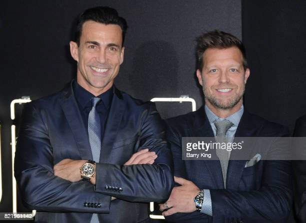 Actor Daniel Bernhardt and director David Leitch attend the premiere of Focus Features' 'Atomic Blonde' at The Theatre at Ace Hotel on July 24 2017...