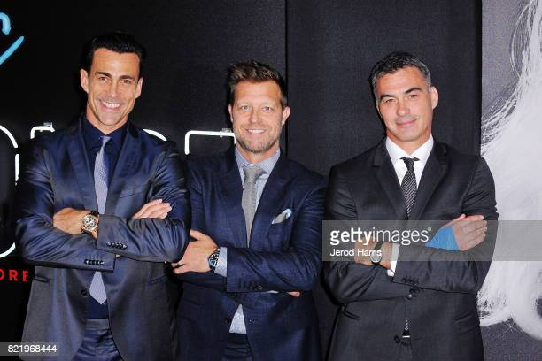 Actor Daniel Bernhardt director David Leitch and producer AJ Dix attend the premiere of 'Atomic Blond' at the Ace Theater on July 24 2017 in Los...