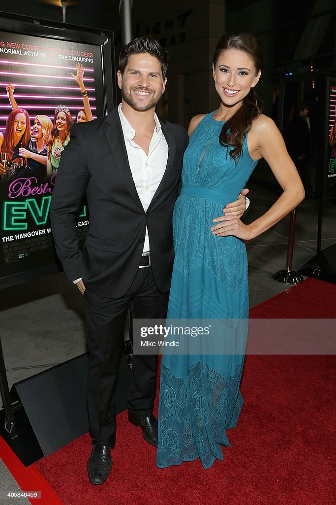Actor Daniel Booko (L) and Nia Sanchez arrive at the premiere of Magnet's 'Best Night Ever' at ArcLight Cinemas on January 29, 2014 in Hollywood, California.