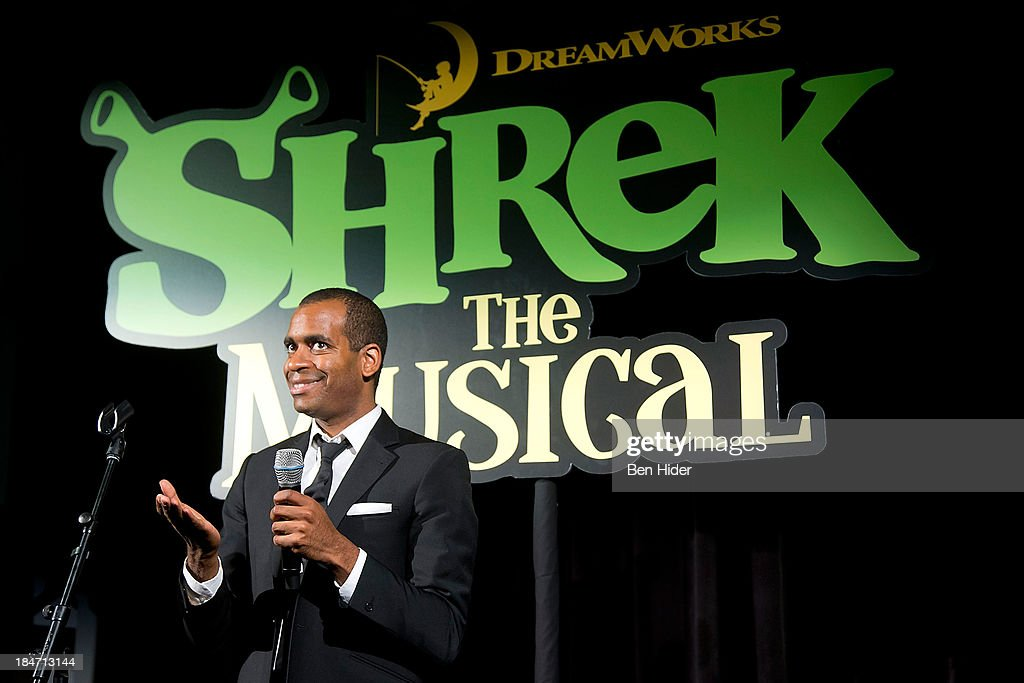 Actor <a gi-track='captionPersonalityLinkClicked' href=/galleries/search?phrase=Daniel+Breaker&family=editorial&specificpeople=712417 ng-click='$event.stopPropagation()'>Daniel Breaker</a> performs at the release party for 'Shrek: The Musical' Blue-Ray and DVD on October 15, 2013 in New York, United States.