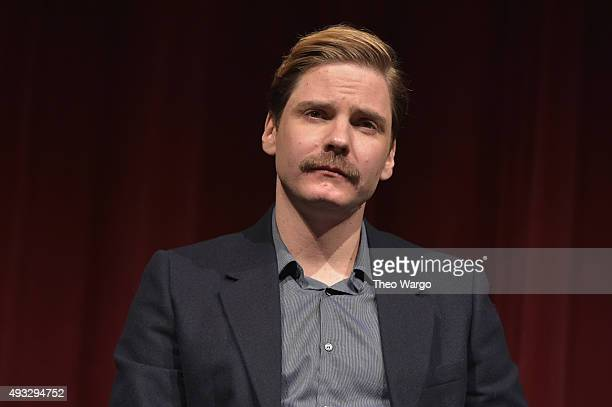 Actor Daniel Bruhl speaks on stage at the Private Screening Of BURNT QA Panel And Reception With Bradley Cooper And Sienna Miller during Food Network...