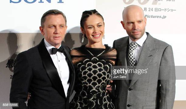 Actor Daniel Craig actress Olga Kurylenko and director Marc Forster attend the 'Quantum of Solace' Japan Premiere at Roppongi Hills on November 25...