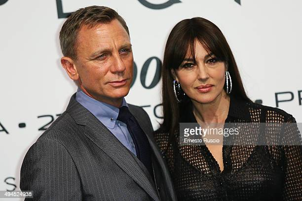 Actor Daniel Craig and Monica Bellucci attend a premiere for 'Spectre' at Auditorium Della Conciliazione on October 27 2015 in Rome Italy