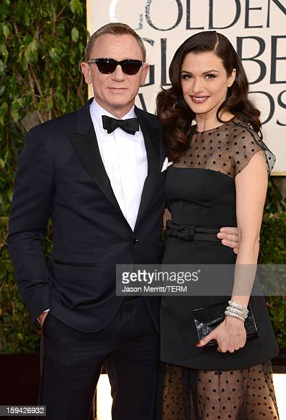 Actor Daniel Craig and wife actress Rachel Weisz arrive at the 70th Annual Golden Globe Awards held at The Beverly Hilton Hotel on January 13 2013 in...