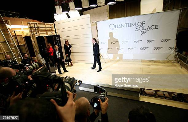 Actor Daniel Craig attends a photocall to celebrate the start of production of the 22nd James Bond film 'Quantum of Solace' at Pinewood Studios on...