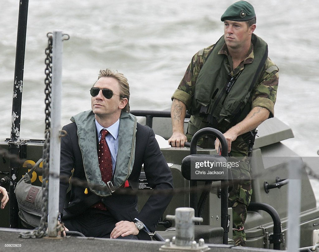 Actor Daniel Craig greets a naval officer as he is unveiled as the new actor to play the legendary British secret agent James Bond 007 in the 21st Bond film Casino Royale, at HMS President, St Katharine's Way on October 14, 2005 in London, England. Speculation as to who might replace Pierce Brosnan (who played Bond from 1995-2002) has been fierce, with Clive Owen, Jude Law, Ewan McGregor, Colin Salmon, Colin Farrell and Goran Visnjic in the running, but the most likely candidates were whittled down to Craig and Henry Cavill until today's decision.