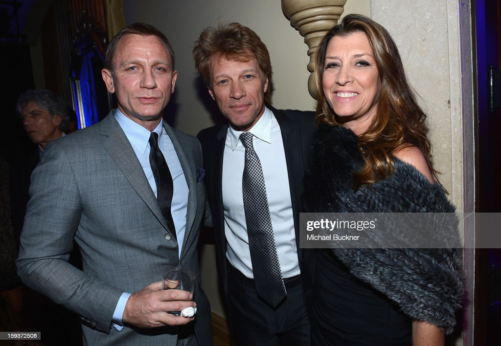 Actor Daniel Craig, musician Jon Bon Jovi and Dorothea Hurley attend the 2nd Annual Sean Penn and Friends Help Haiti Home Gala benefiting J/P HRO presented by Giorgio Armani at Montage Hotel on January 12, 2013 in Los Angeles, California.