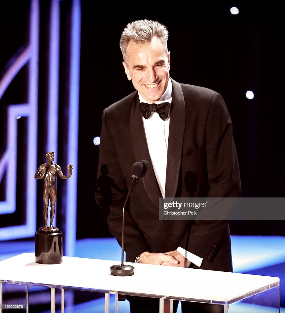 Actor Daniel Day Lewis accepts the award for Outstanding Performance by a Male Actor in a Leading Role onstage during the 19th Annual Screen Actors Guild Awards at The Shrine Auditorium on January 27, 2013 in Los Angeles, California. (Photo by Christopher Polk/WireImage) 23116_012_2072.jpg