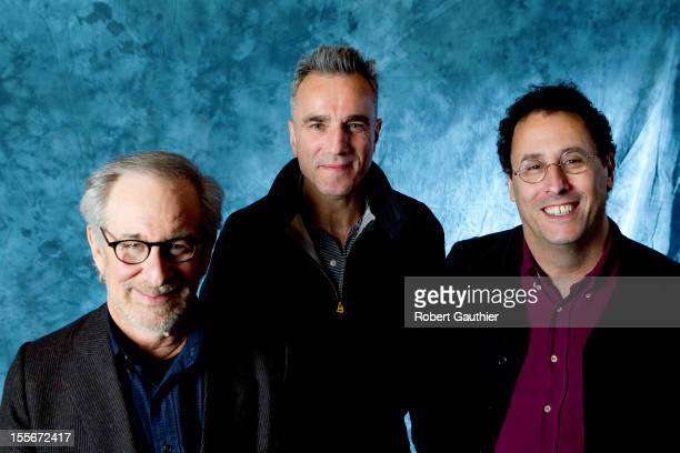 Actor Daniel Day Lewis director Steven Spielberg and screenwriter Tony Kushner are photographed for Los Angeles Times on October 19 2012 in Beverly...